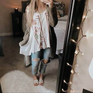 Free People Floral Embroidered Handkerchief Tank